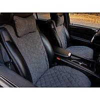 Чехлы-накидки на передние сиденья авто широкие серые под алькантаре