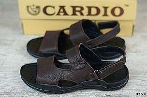 Мужские кожаные сандалии Cardio коричневого цвета