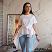 Асимметричная блуза с удлиненным воланом сзади, фото 2