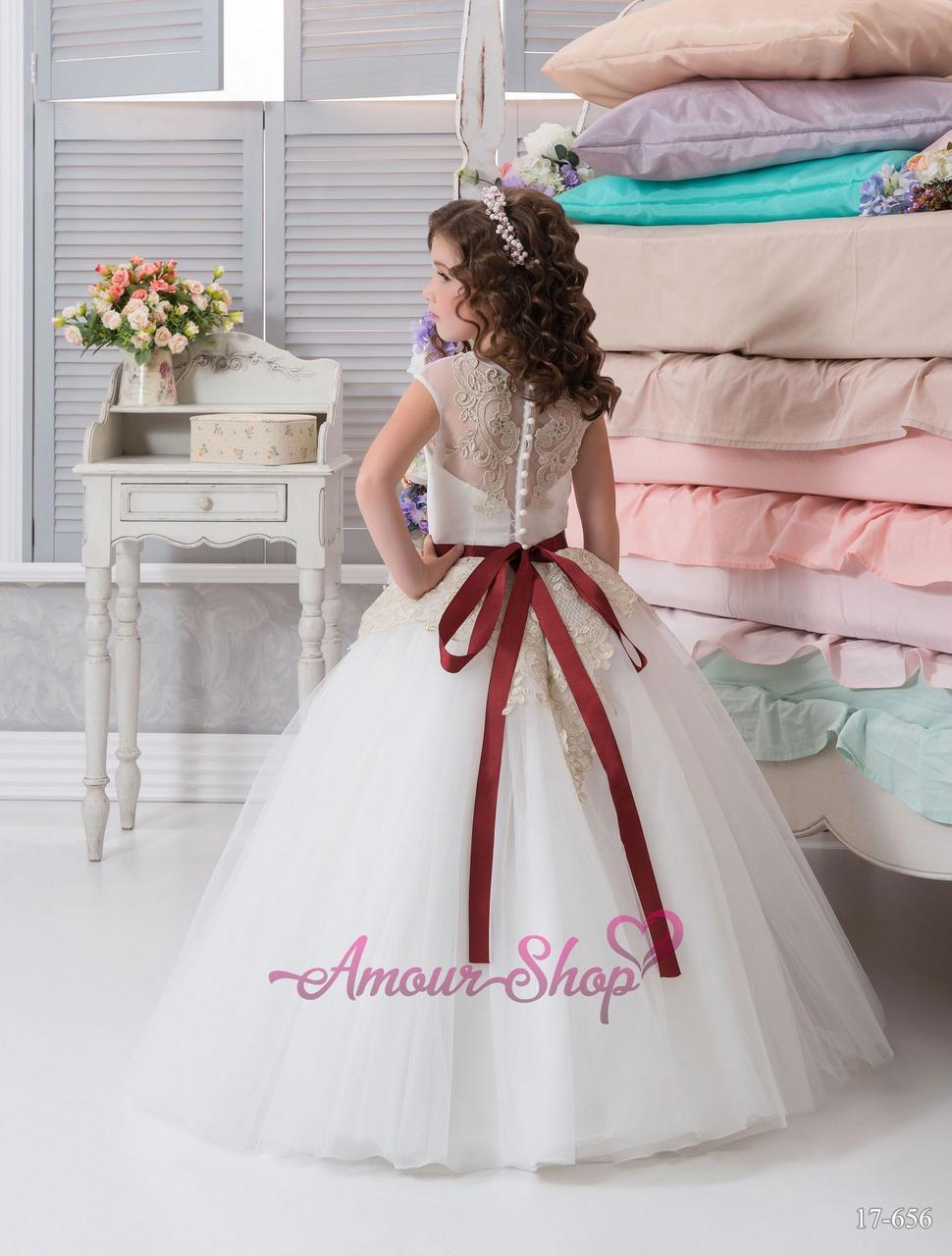 Детское платье  белое с золотой вышивкой, пышное, нарядное, с поясом марсала