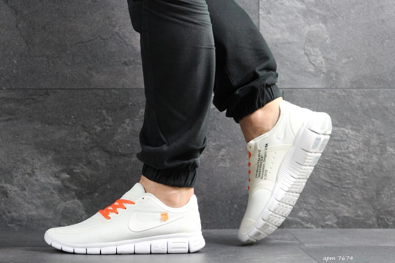 Мужские кроссовки Nike Free Run 5.0 (бело-оранжевые)