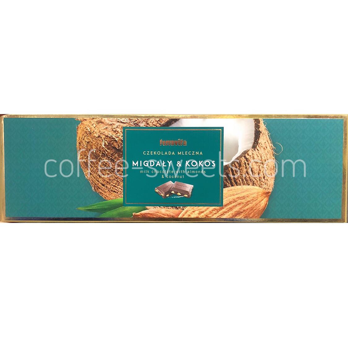 Шоколад молочный Terravita Migdaly & Kokos миндаль и кокос 225 гр
