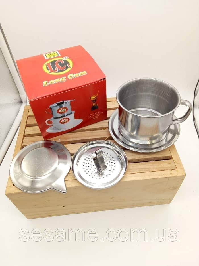"""Пресс фильтр для приготовления натурального кофе """"по -вьетнамски"""" Большой 8"""