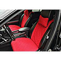 Чехлы-накидки на передние сиденья авто широкие красные под алькантаре
