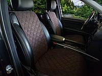 Чехлы-накидки на передние сиденья авто широкие коричневые под алькантаре
