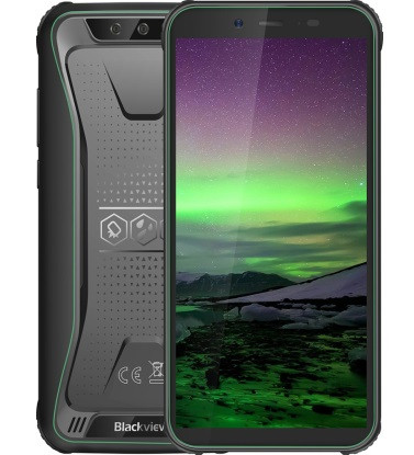 "Смартфон Blackview BV5500 Black-Green 2/16Gb, 8+0,3/5Мп, IP68, 4 ядра, 2sim, 5.5"" IPS, 3G, 4400mAh, MT6580P"