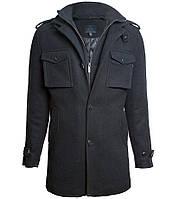 Пальто бушлат Top Gun Men's Slim Fit Wool Pea Coat (черное)