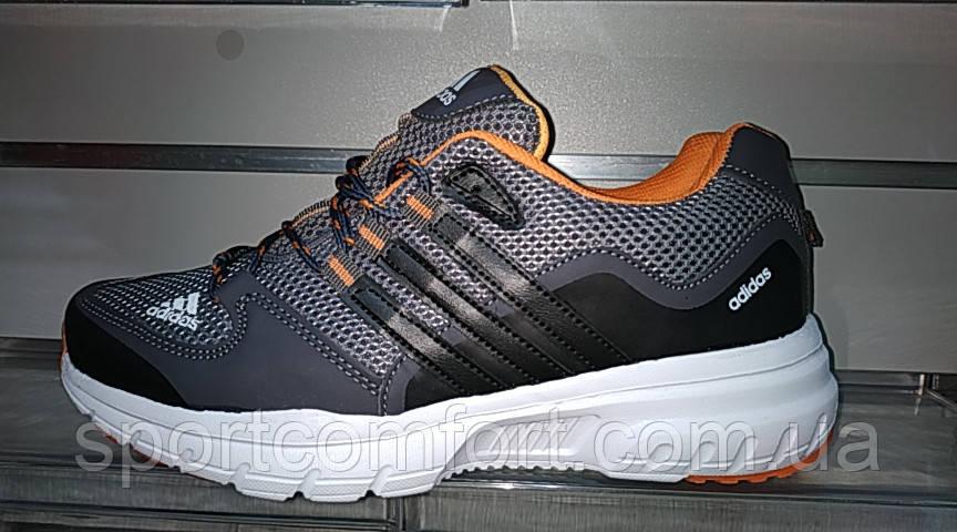 Мужские кроссовки Adidas серые с оранжевым