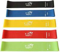 Набор эластичных лент-эспандеров для фитнеса Fit Simplify 28.5 см 5 шт (FL-91)