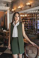 Стильный женский костюм жилет и юбка цвет хаки