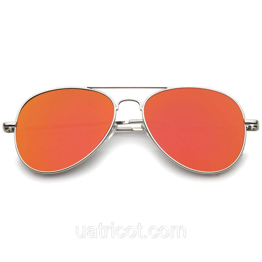 Мужские солнцезащитные очки авиаторы в серебряной оправе с оранжевой линзой