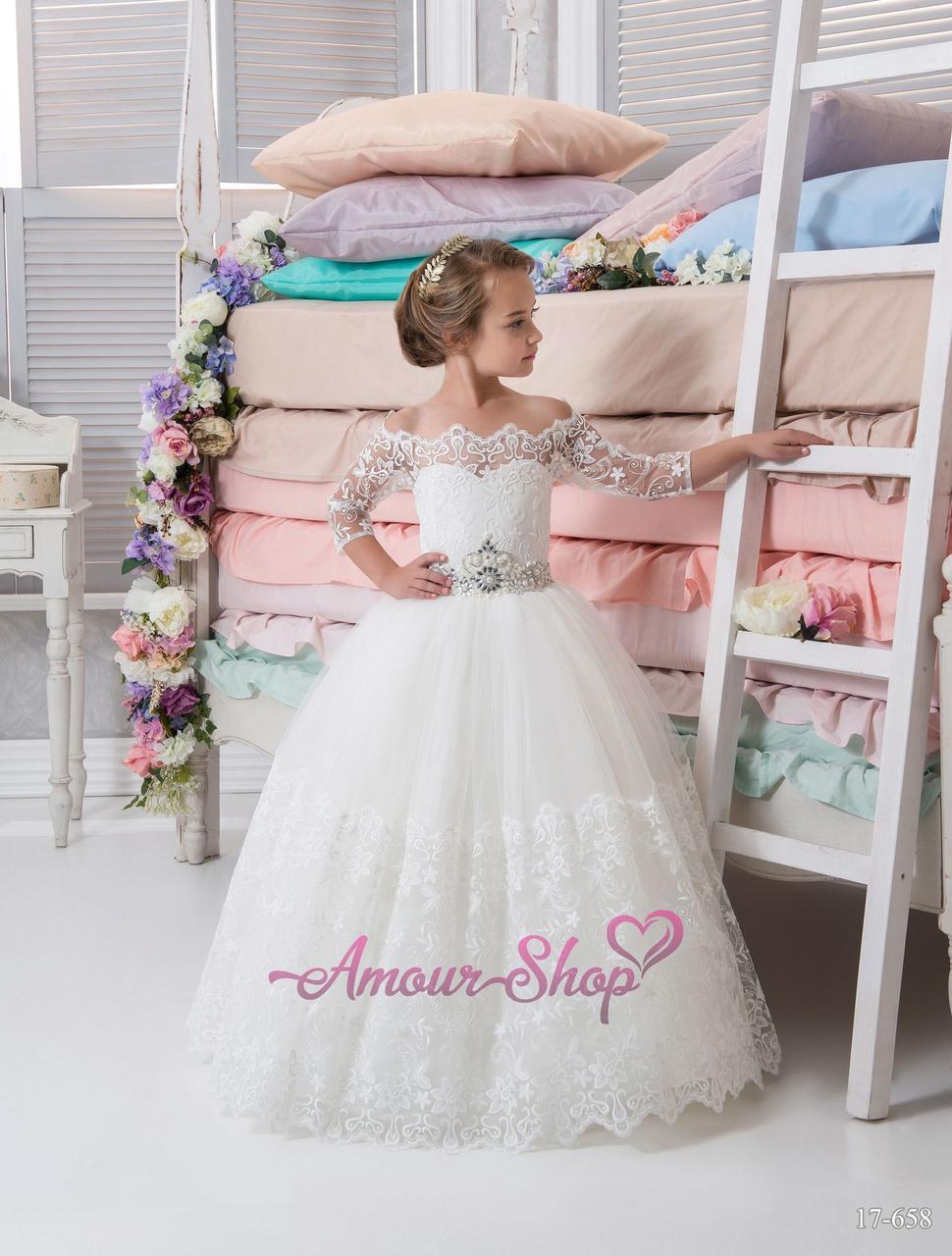 Детское платье  белое для первого причастия пышное, нарядное