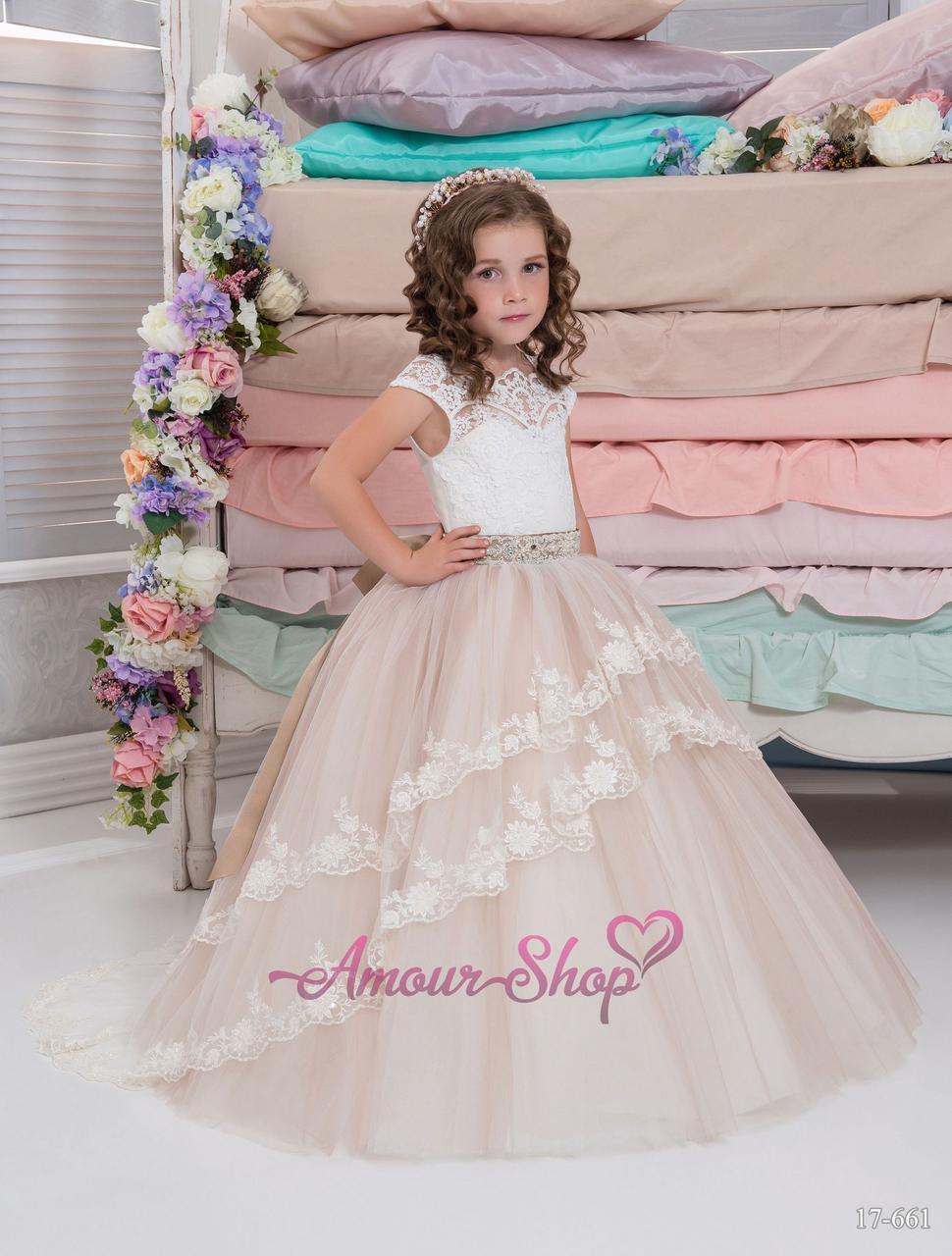 Детское платье  дымчатого цвета с кружевами, пышное, нарядное, на выпускной