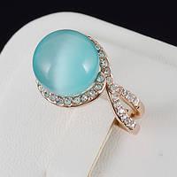 Нарядное кольцо с кристаллами Swarovski, покрытое золотом 0632 19 Голубой
