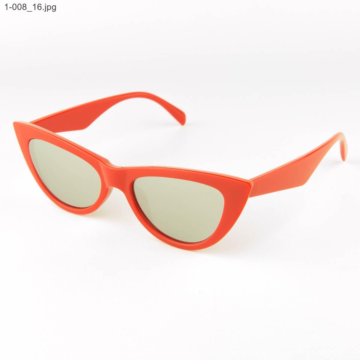 Оптом очки кошачий глаз - Красные с зеркальными линзами - 1-008
