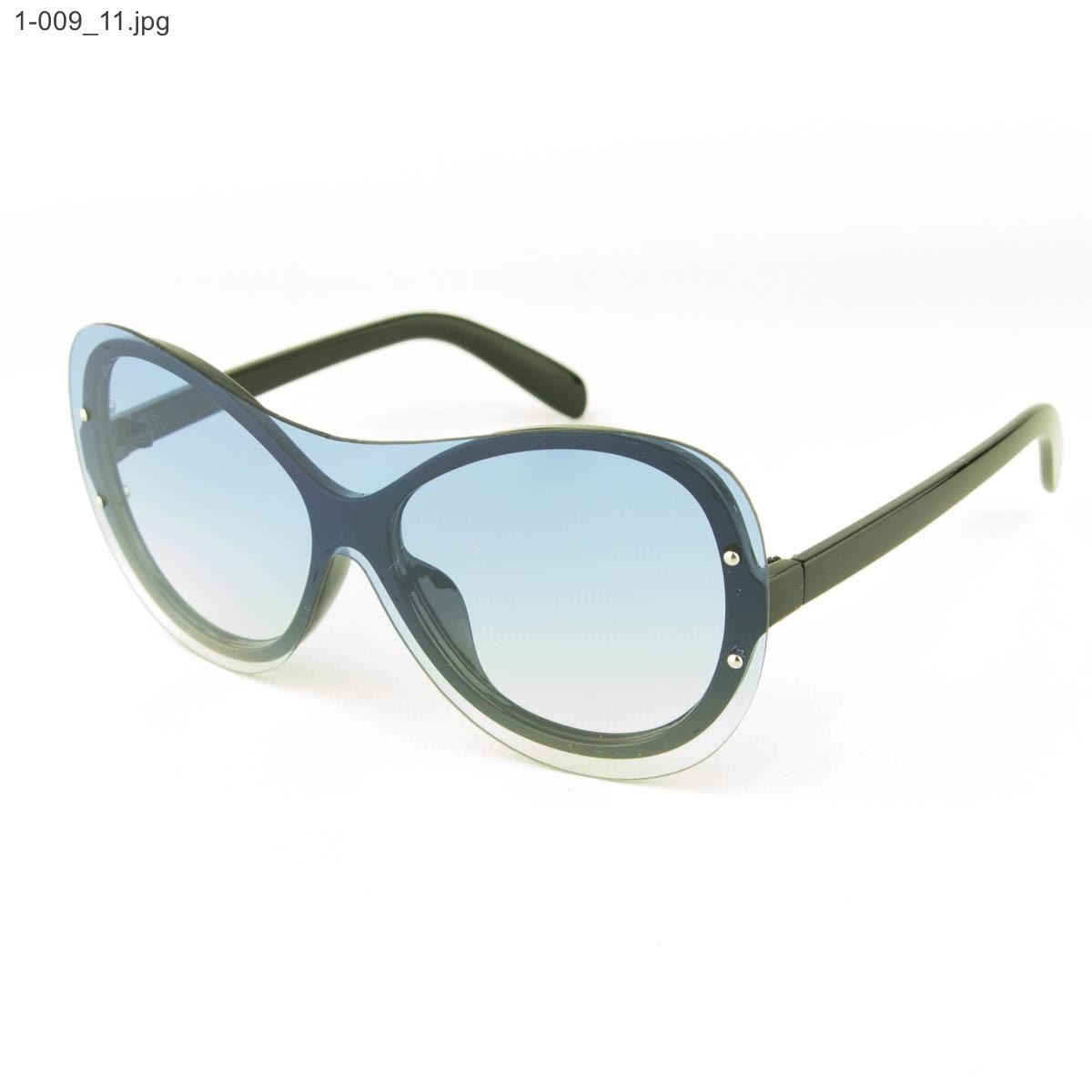 Оптом качественные стильные солнцезащитные очки - Чёрные с голубой линзой - 1-009