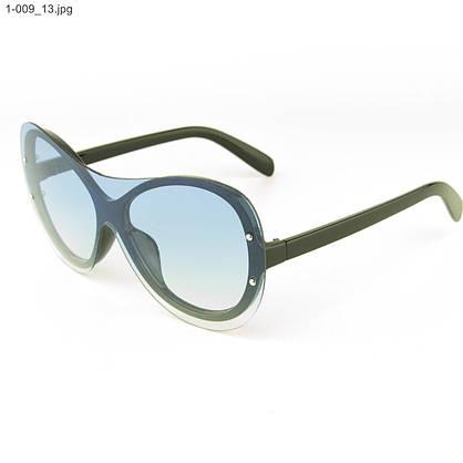 Оптом качественные стильные солнцезащитные очки - Чёрные с голубой линзой - 1-009, фото 3