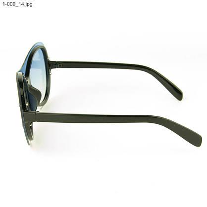 Оптом качественные стильные солнцезащитные очки - Чёрные с голубой линзой - 1-009, фото 2