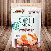 Optimeal. Консервированный корм для взрослых котов с лососем и креветками в соусе, 85 г 12шт