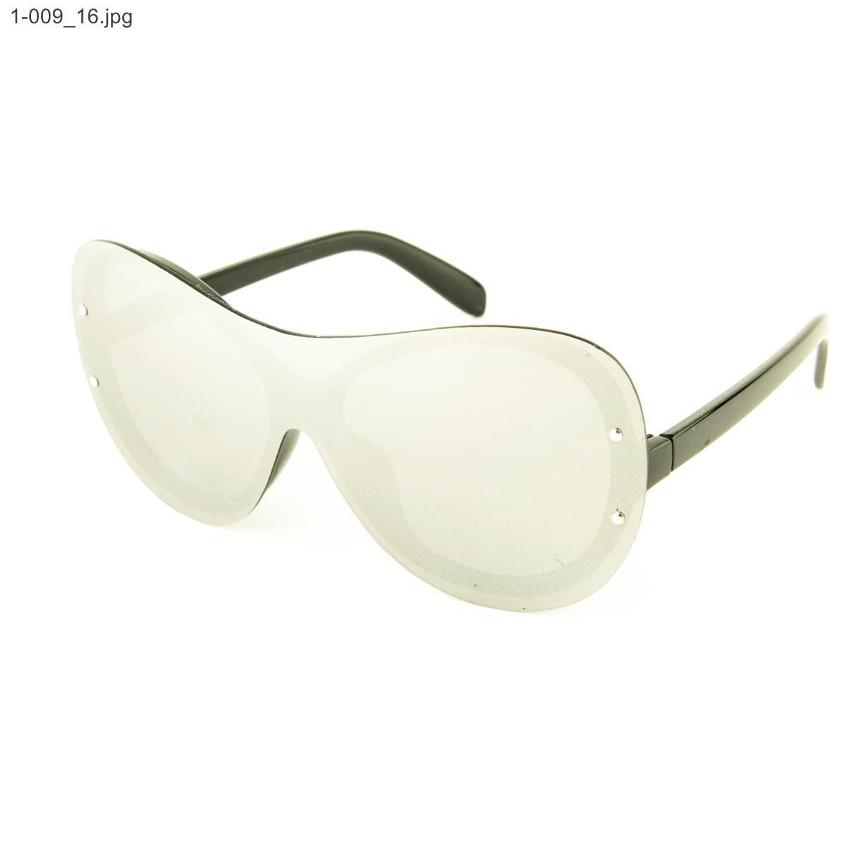 Оптом качественные стильные солнцезащитные очки - Чёрные с зеркальной линзой - 1-009