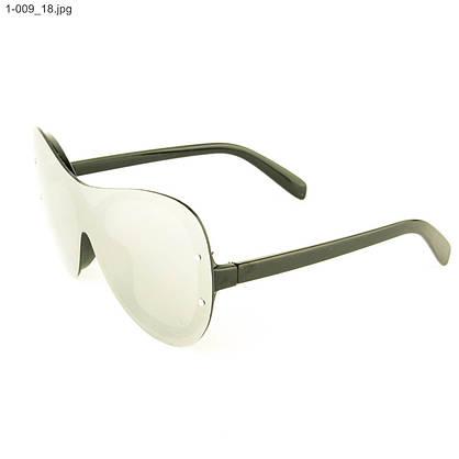 Оптом качественные стильные солнцезащитные очки - Чёрные с зеркальной линзой - 1-009, фото 3