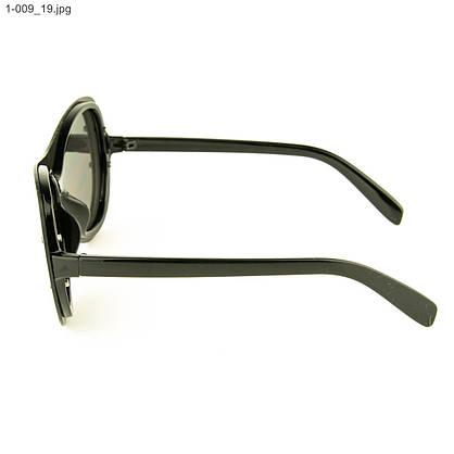 Оптом качественные стильные солнцезащитные очки - Чёрные с зеркальной линзой - 1-009, фото 2
