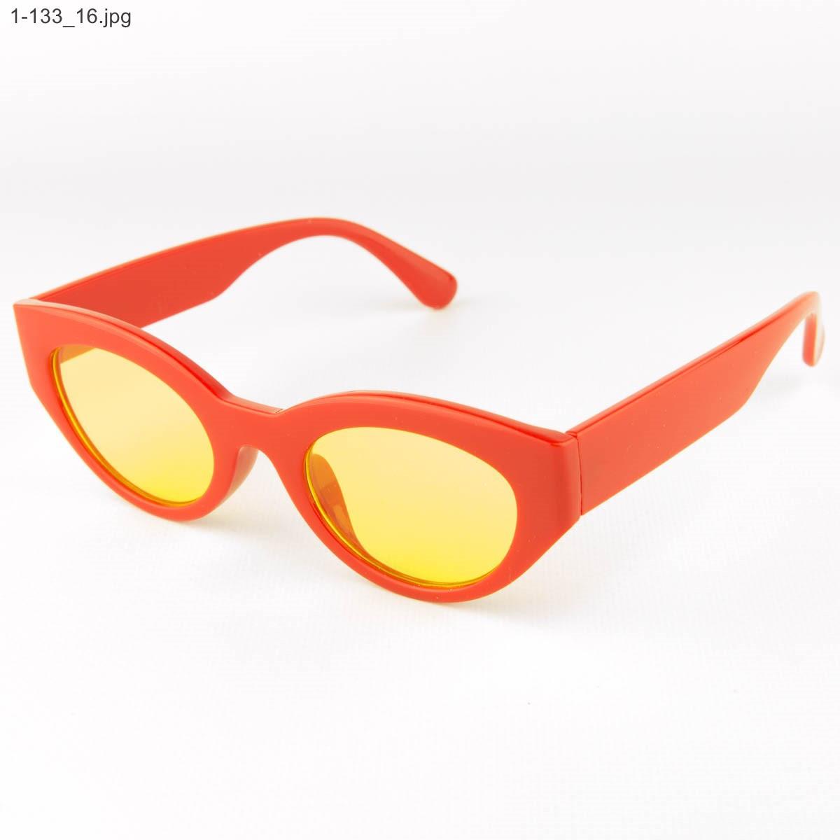 Оптом солнцезащитные очки овальной формы - Красные - 1-133