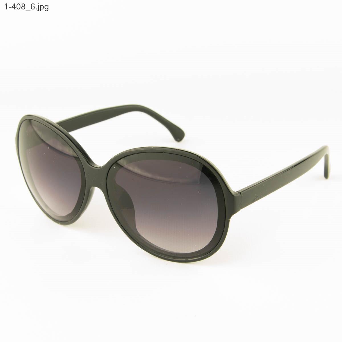 Оптом молодежные солнцезащитные очки - Черные с черной линзой - 1-408