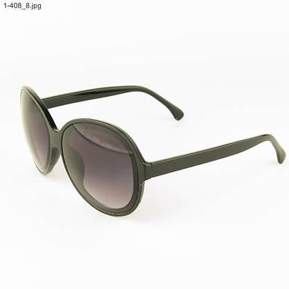 Оптом молодежные солнцезащитные очки - Черные с черной линзой - 1-408, фото 3