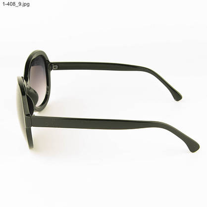Оптом молодежные солнцезащитные очки - Черные с черной линзой - 1-408, фото 2