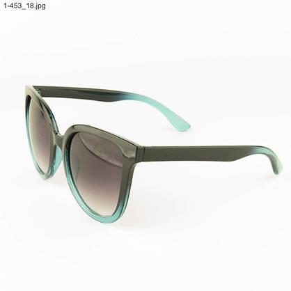 Оптом солнцезащитные женские очки - Черные с голубым - 1-453, фото 3