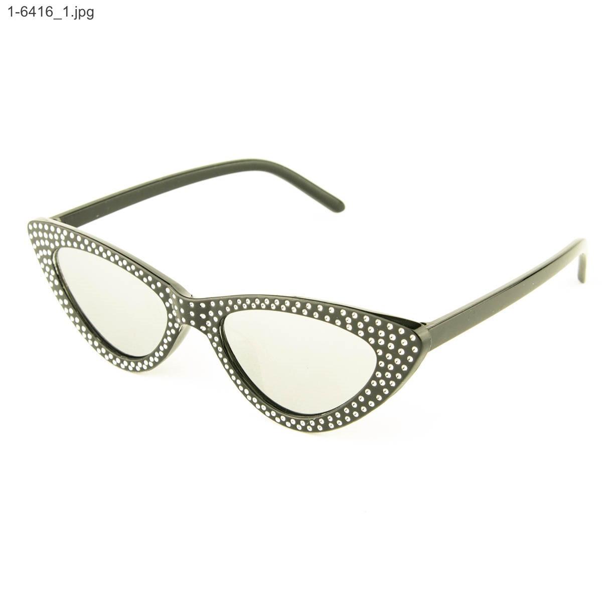 Оптом очки кошачий глаз - Черные с зеркальными линзами - 1-6416