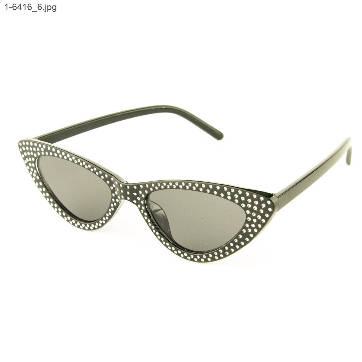 Оптом женские очки кошачий глаз - Черные черными линзами - 1-6416