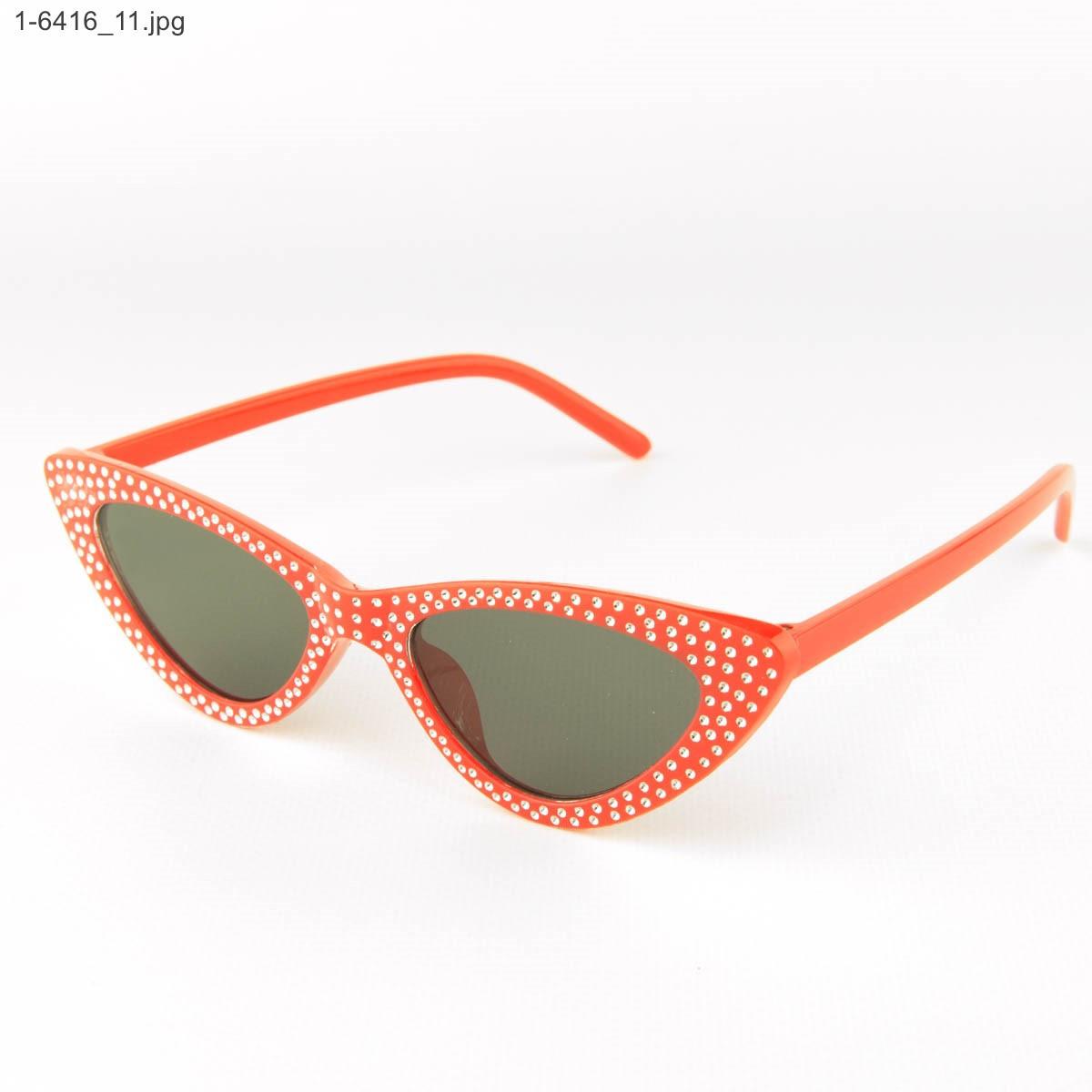 Оптом женские очки кошачий глаз - Красные с черными линзами - 1-6416