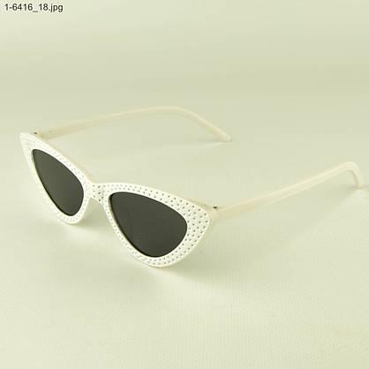 Оптом женские очки кошачий глаз - Белые черными линзами - 1-6416, фото 3
