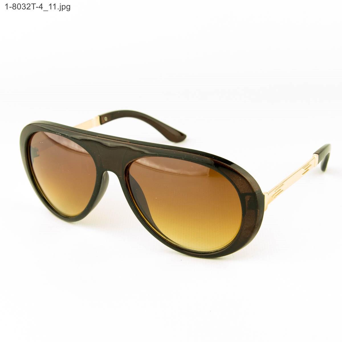 Оптом стильные солнцезащитные очки - Коричневые - 1-8032Т-4