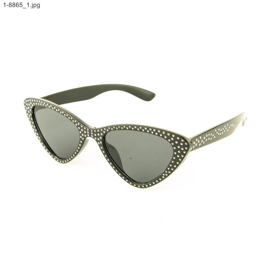 Оптом модные очки кошачий глаз - Черные со стразами (имитация) - 1-8865, фото 2