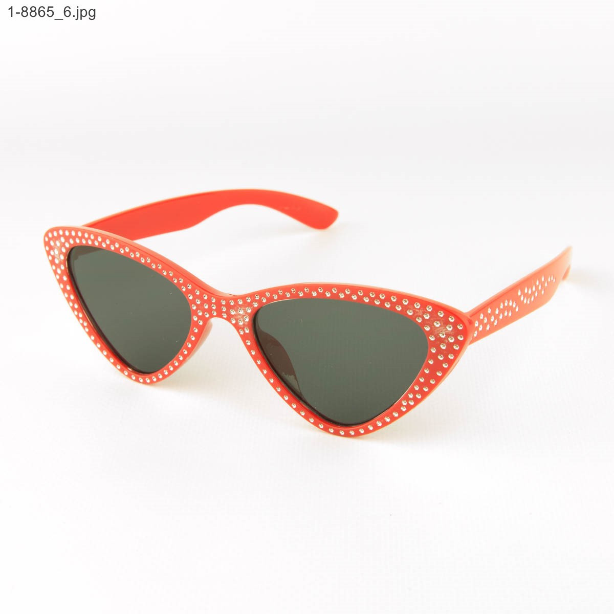 Оптом модні окуляри котяче око - Червоні зі стразами (імітація) - 1-8865
