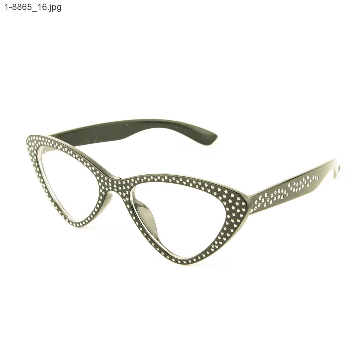 Оптом имиджевые очки кошачий глаз - Черные со стразами (имитация) - 1-8865