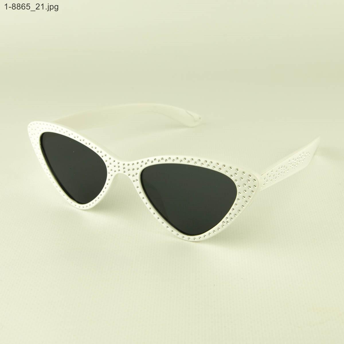 Оптом модные очки кошачий глаз - Белые со стразами (имитация) - 1-8865