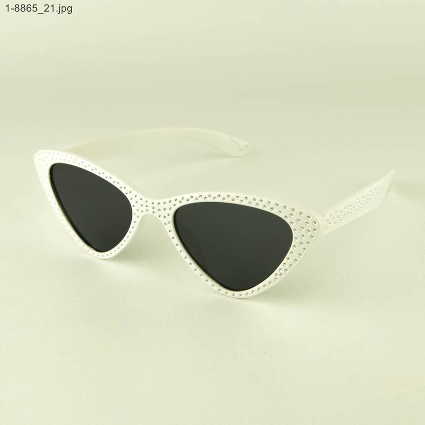 Оптом модные очки кошачий глаз - Белые со стразами (имитация) - 1-8865, фото 2