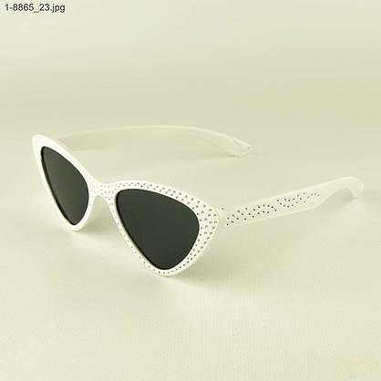Оптом модные очки кошачий глаз - Белые со стразами (имитация) - 1-8865, фото 3