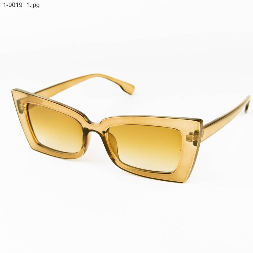 Оптом стильные женские солнцезащитные очки - Янтарные - 1-9019, фото 2