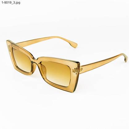 Оптом стильные женские солнцезащитные очки - Янтарные - 1-9019, фото 3