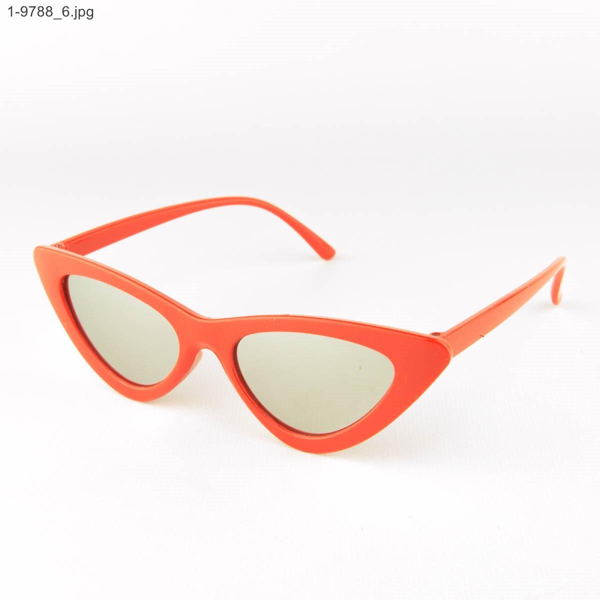 Оптом зеркальные солнцезащитные женские очки кошачий глаз - Красные - 1-9788