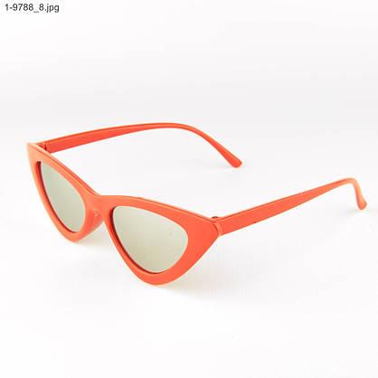 Оптом зеркальные солнцезащитные женские очки кошачий глаз - Красные - 1-9788, фото 3