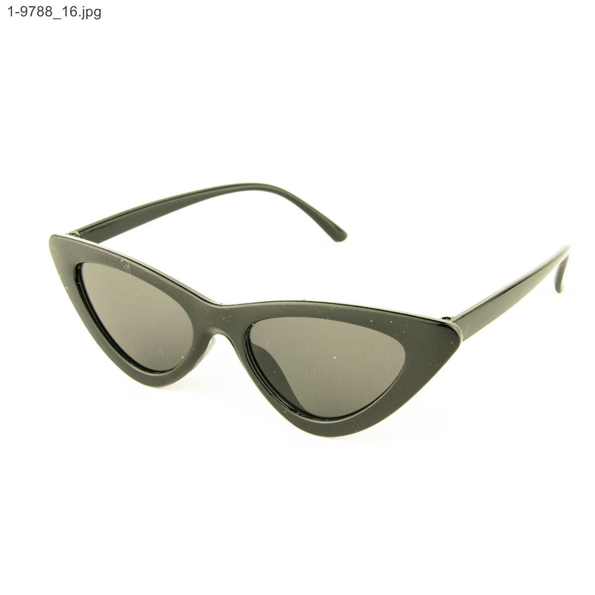 Оптом солнцезащитные женские очки кошачий глаз - Черные - 1-9788