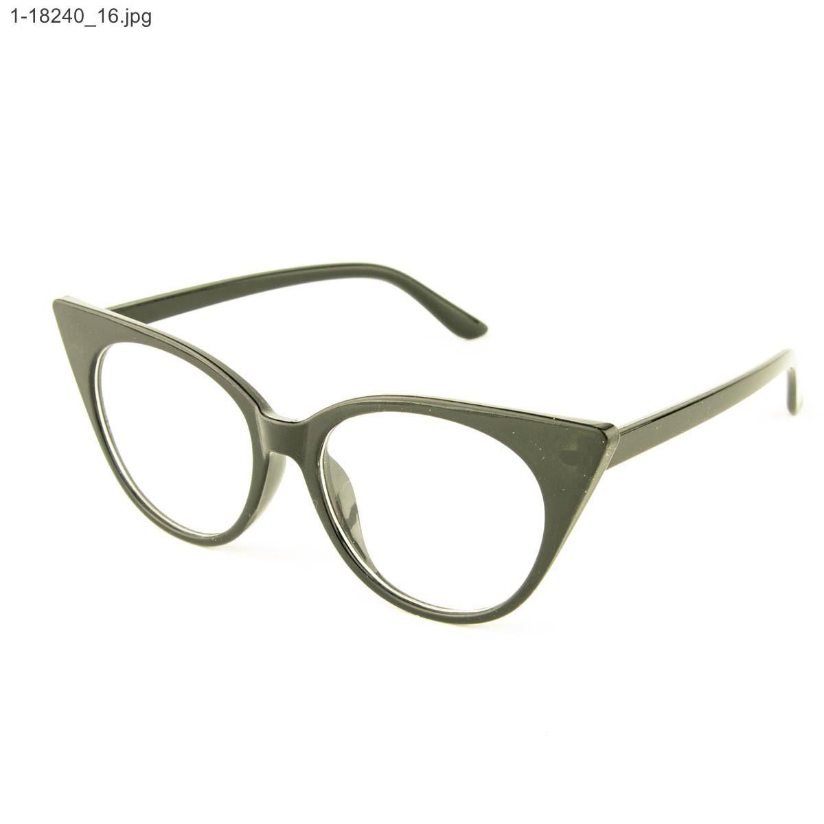Оптом имиджевые женские очки кошачий глаз - Черные - 1-18240