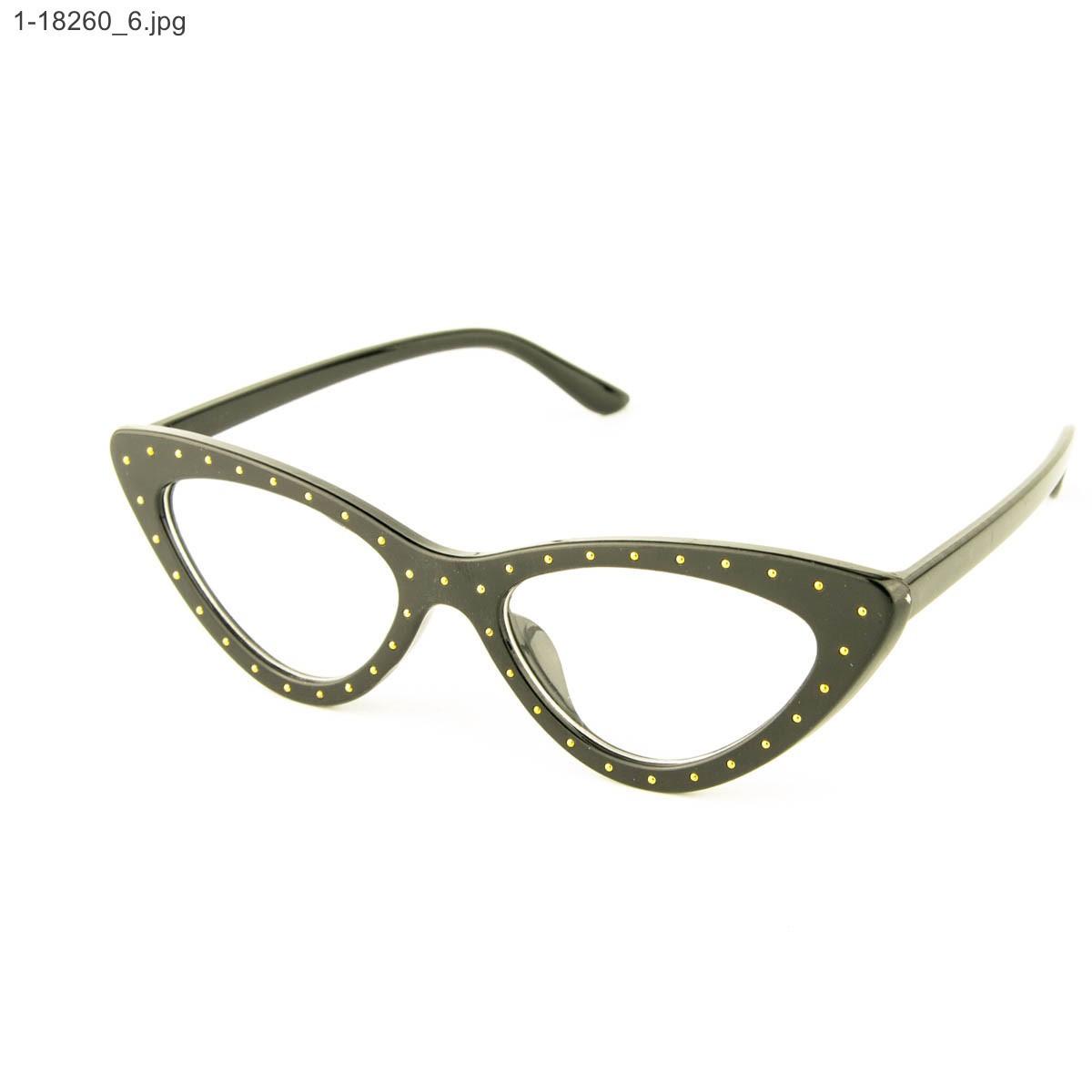 Оптом очки имиджевые кошачий глаз - Черные с шипами - 1-18260