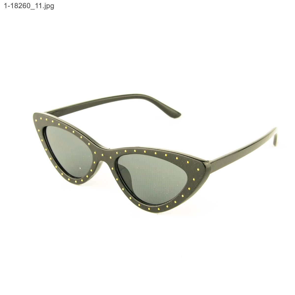 Оптом очки солнцезащитные кошачий глаз - Черные с шипами - 1-18260